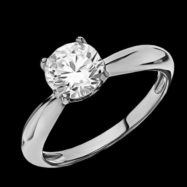 Помолвочное кольцо с фианитом в белом золоте