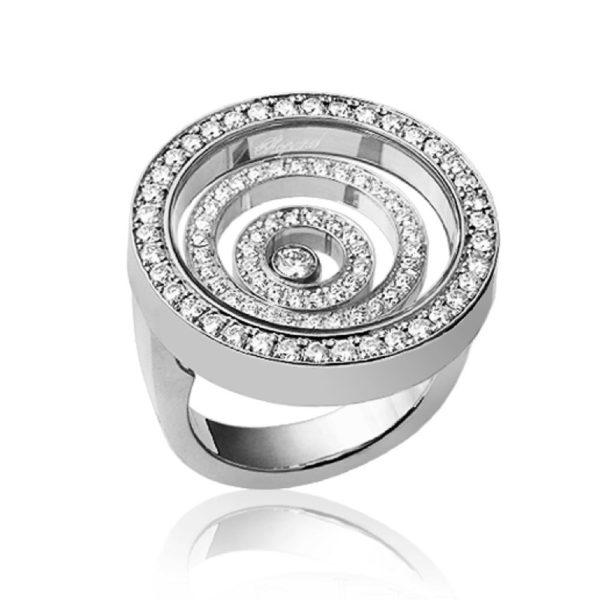 Кольцо белое золото с плавающим бриллиантом