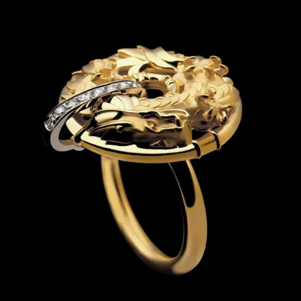 Кольцо желтое золото с бриллиантами