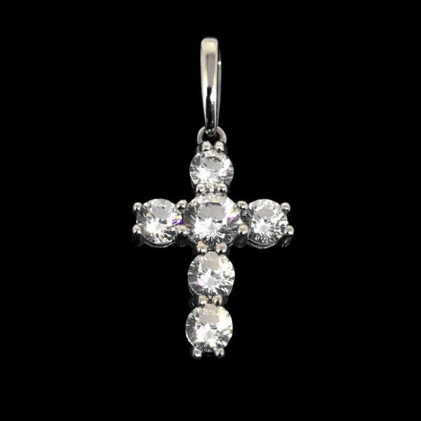 Крестик белое золото