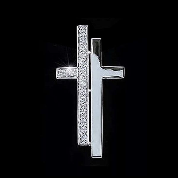 Крест в белом золоте с фианитами