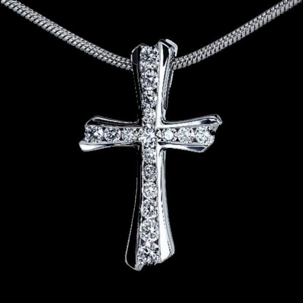 Крест в белом золоте Decorative Cross 1