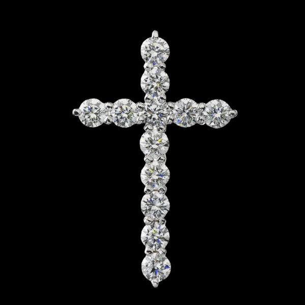 Крест в белом золоте с бриллиантами 1