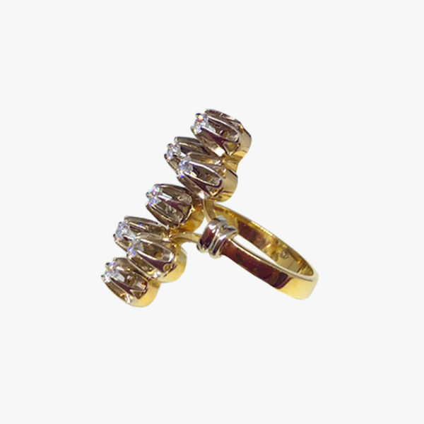 Кольцо желтое золото бриллианты 1