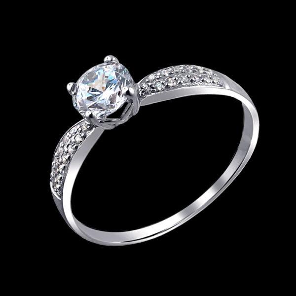 кольцо белое золото с фианитами