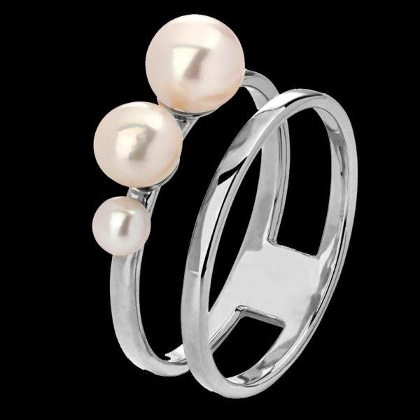 Кольцо белое золото с жемчугом