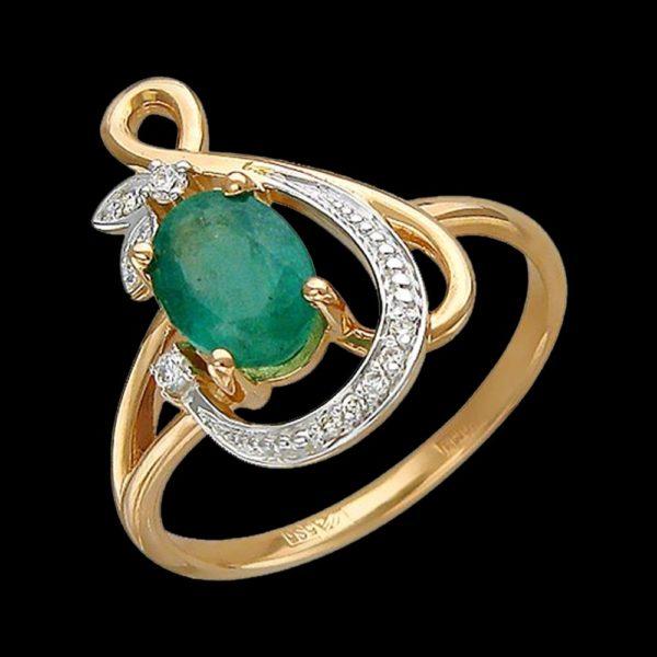 Кольцо в красном золоте с изумрудом и бриллиантами