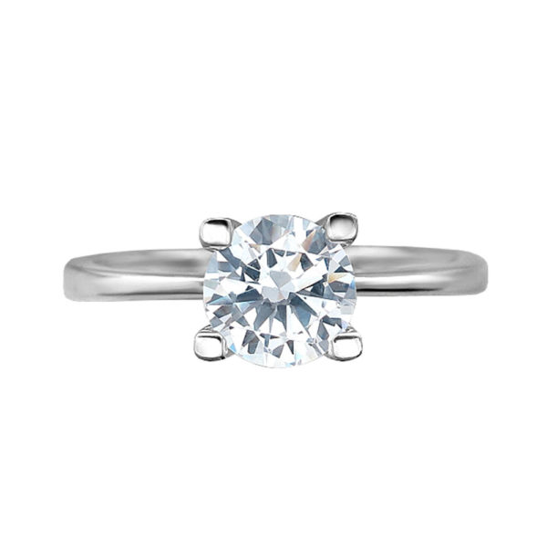Помолвочное кольцо с фианитом в серебре 1