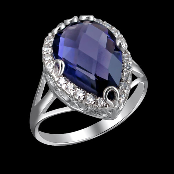 Серебряное кольцо с фианитами и аметистом