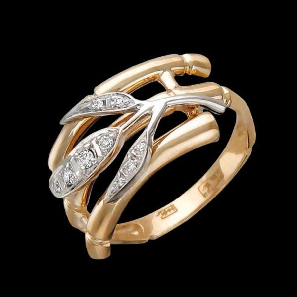 Обручальное кольцо в желтом золоте с фианитами
