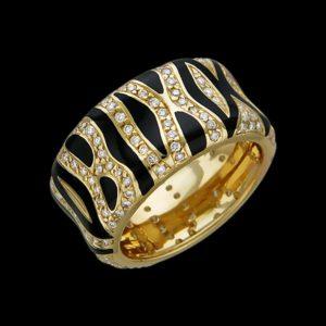 Кольцо в желтом золоте с бриллиантами и эмалью