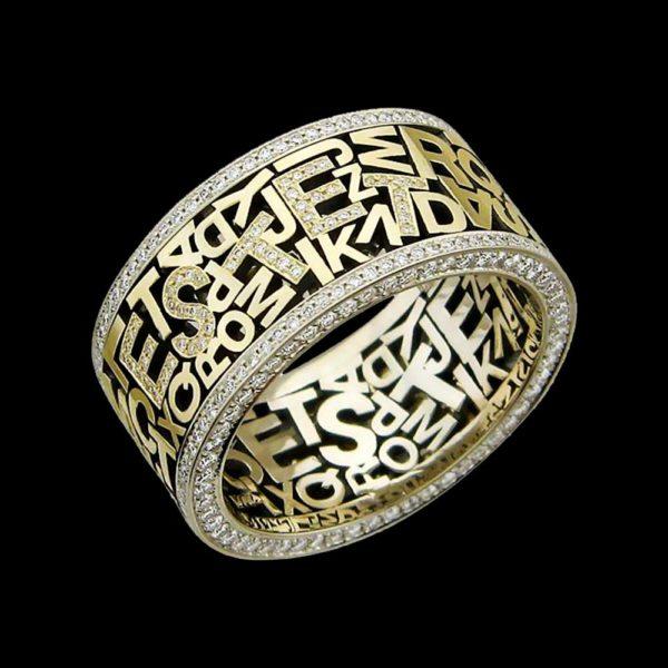 Обручальное кольцо в желтом золоте с бриллиантами