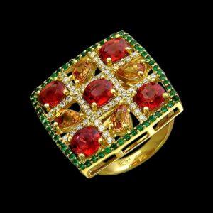 Кольцо с цаворитом сапфиром и бриллиантами
