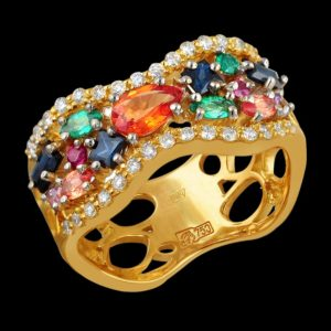Кольцо в желтом золоте с рубином сапфиром и бриллиантами