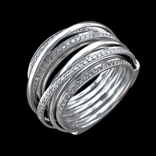 Обручальное кольцо в белом золоте с бриллиантами