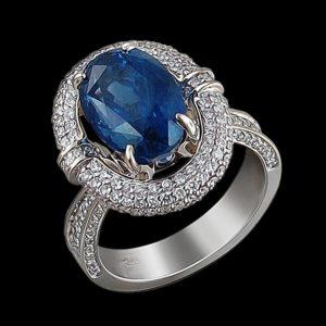 Кольцо в белом золоте с сапфиром и бриллиантами