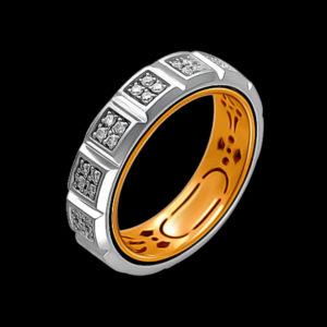 Обручальное кольцо в желтом и белом золоте