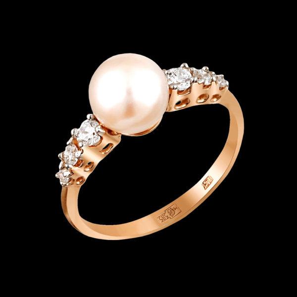 Кольцо в красном золоте с жемчугом и фианитами