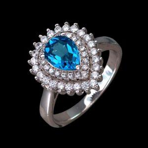 Серебряное кольцо с лондоном топазом и фианитом