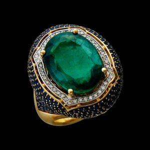 Кольцо с изумрудом сапфиром и бриллиантами