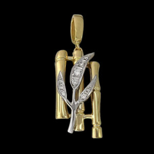 Подвеска в желтом золоте с фианитами