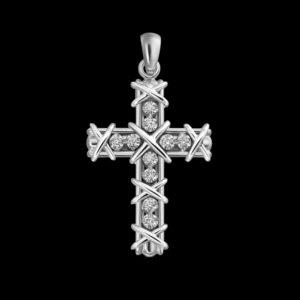 Крест в белом золоте с бриллиантами