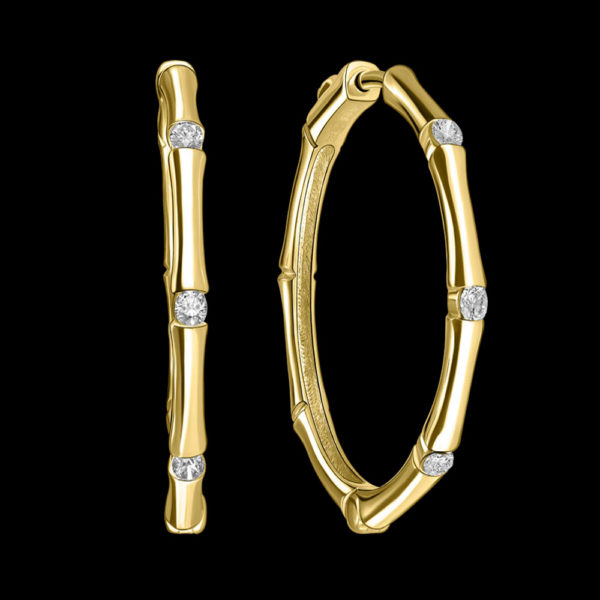 Серьги в желтом золоте с бриллиантами 1