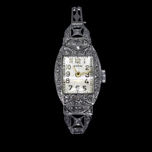 Часы Заря в платине с алмазами 1
