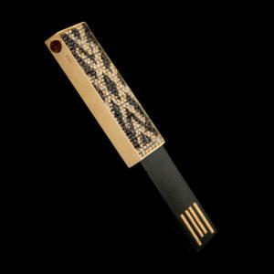 Флэшка в желтом золоте с фианитами