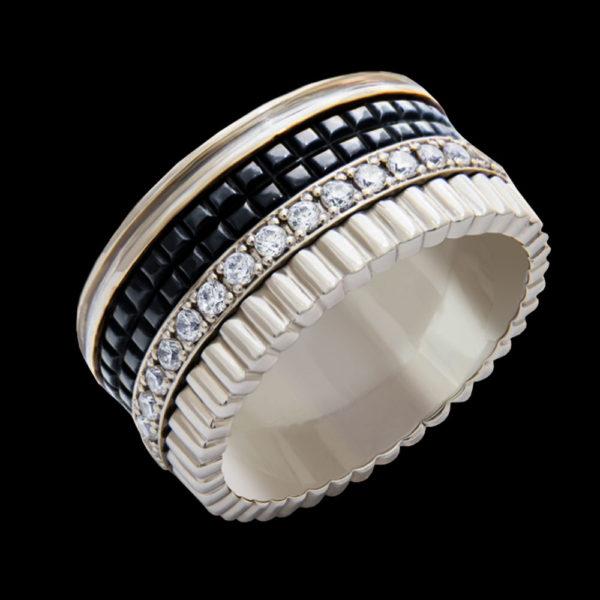 Кольцо в белом золоте с плавающими фианитами
