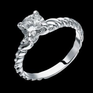 Кольцо в белом золоте с фианитом
