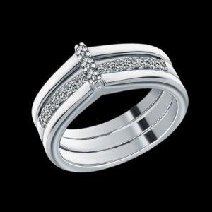 Серебряное кольцо-трансформер с фианитами