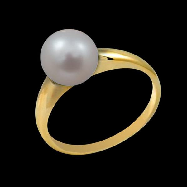 Кольцо в желтом золоте с жемчугом