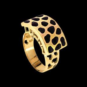 Кольцо в желтом золоте с эмалью