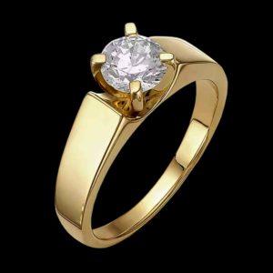 Кольцо в желтом золоте с фианитом