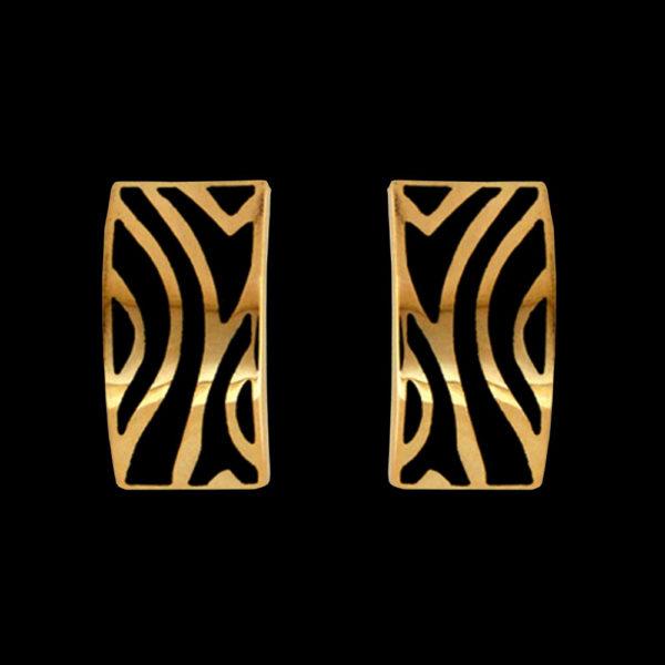 Серьги в желтом золоте с эмалью