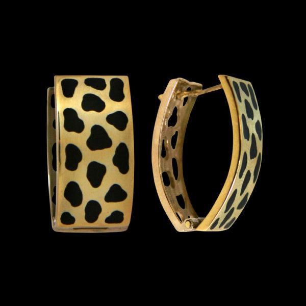 Серьги в желтом золоте с эмалью 1