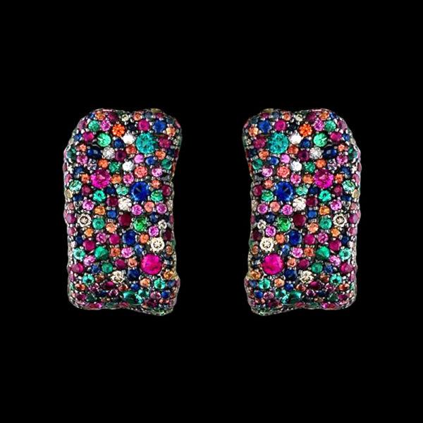 Серьги с изумрудами рубинами сапфирами и бриллиантами