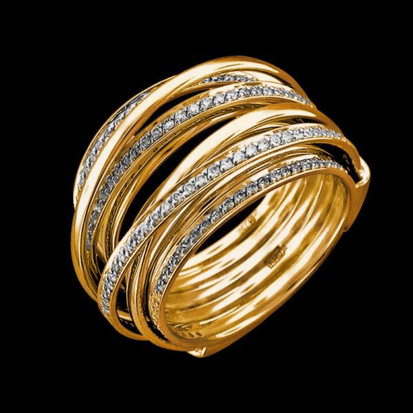 Кольцо в желтом золоте с бриллиантами