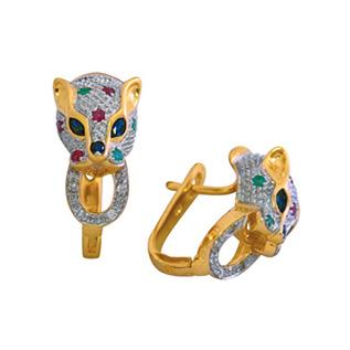 Серьги в желтом золоте кошки 1