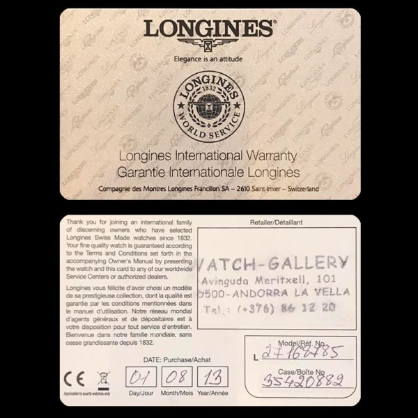 Сертификат на часы Longines